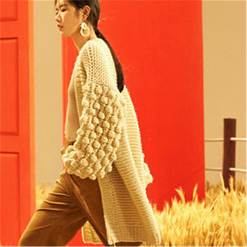 Hand made wool Vneck knit women solid thick H-straight lantern sleeve long cardigan sweater