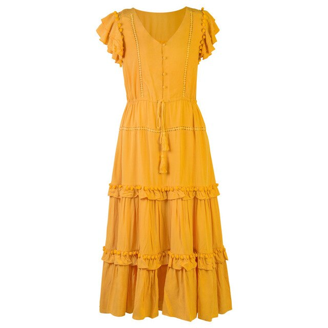 Yellow Long Summer Dress Holiday Boho Chic Dresses Ruffles Layer Button Front Elastic Waist