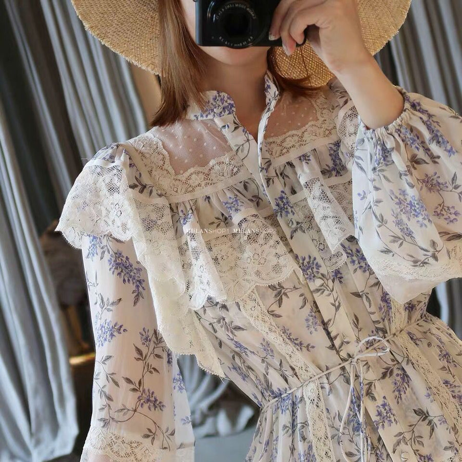 Patchwork Floral Print Midi Dress Elegant Stand Single Breasted Lace Dress Boho Chic Vacation Vestido