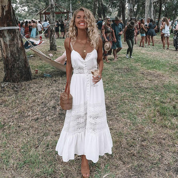 Boho Long Maxi Dress Women Summer Ladies Sleeveless White Beach Dress Evening Party