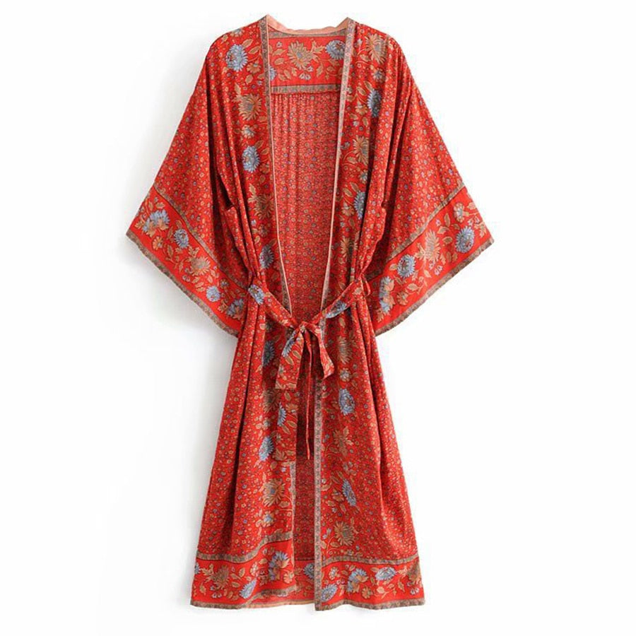 Red Floral Print Kimono Sleeve Resort Summer Beach Wear Hippie