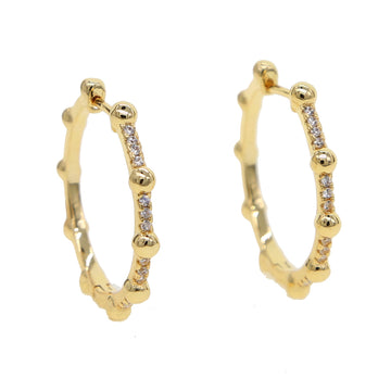 Round micro pave 27mm hoop earring elegance lovely  gift gold