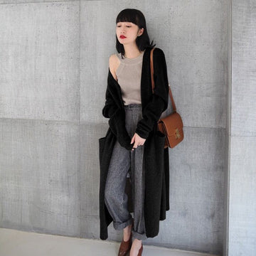 Pure cashmere knit thick long cardigan sweater