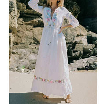 Embroidery Boho Women Dress Holiday Beach Long Chic Hippie  Party White Rope Vestidos