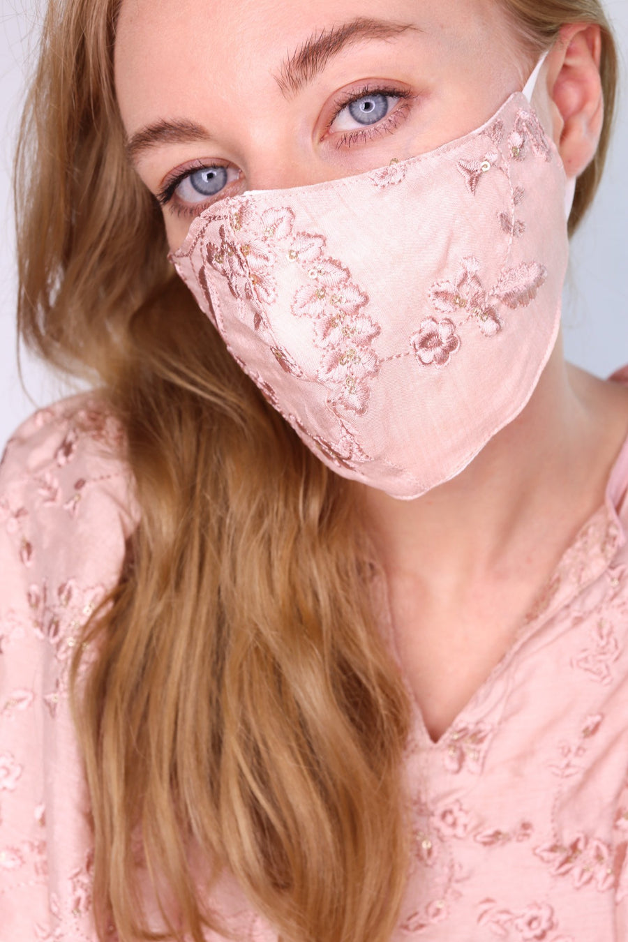 SILK EMBROIDERED COTTON FACE MASK SUSU MOMO NEW YORK