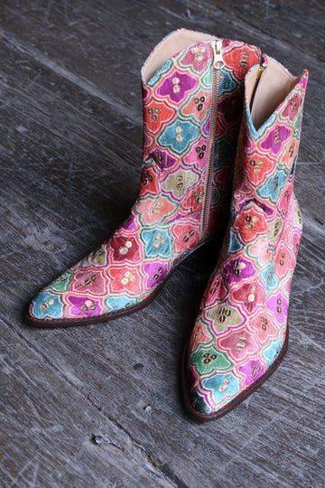 VELVET EMBROIDERED SEQUINS BOOTS SILUNA MOMO NEW YORK