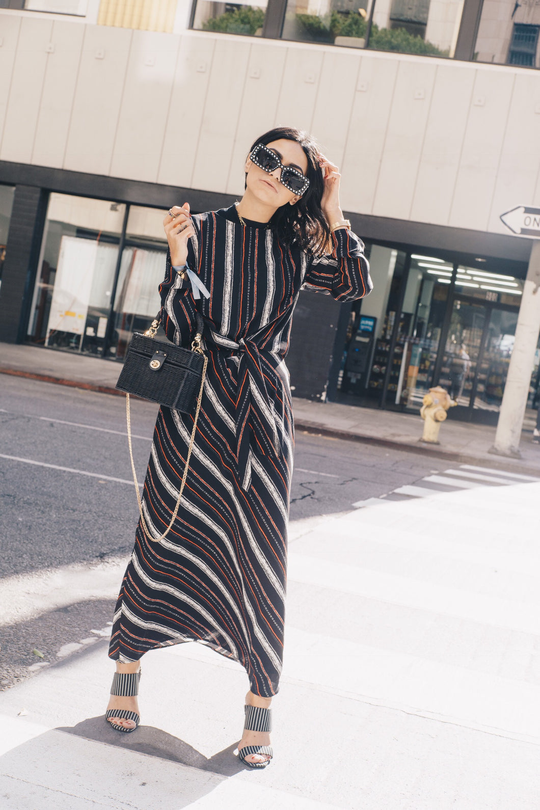 Elana Striped Tie Dress