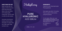 Pure Hyaluronic Acid Serum by Hollyberry - Professional Hydration - Anti Ageing Bring Vibrancy And Youthful Glow To Your Face - Best Anti Ageing - Total Satisfaction Guaranteed