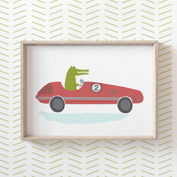Alligator in a Racing Car Print