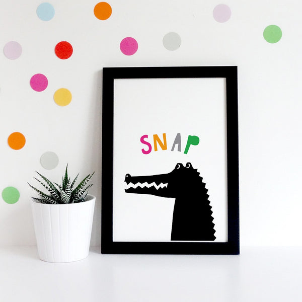 Alligator print, kids nursery art, typography print for nursery