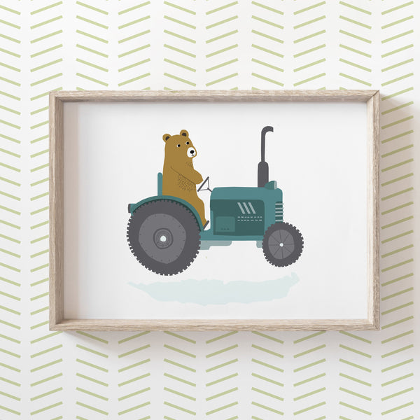 Bear on a Tractor Print