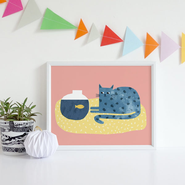Cat and Fish Print