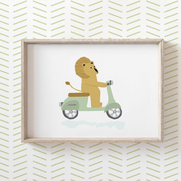 Lion on a Scooter Print