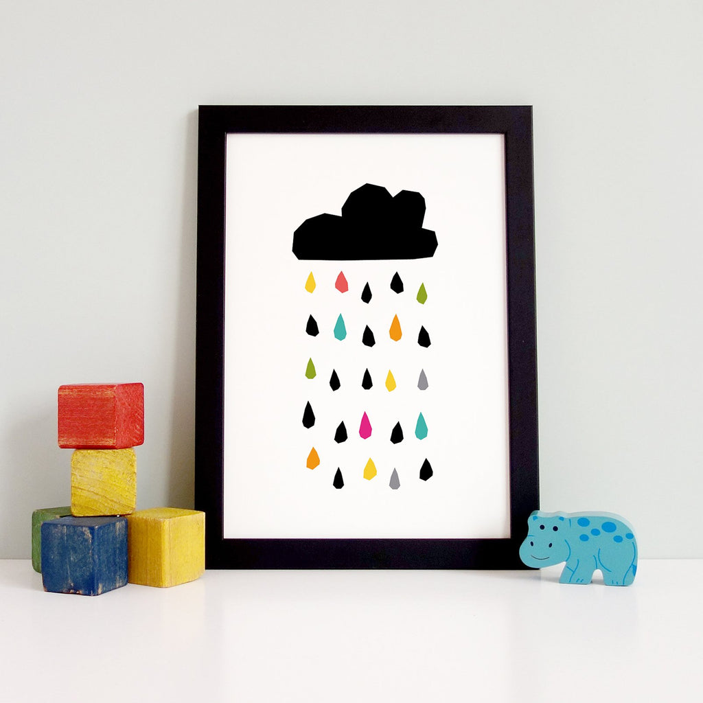 Liquid sunshine raindrops print