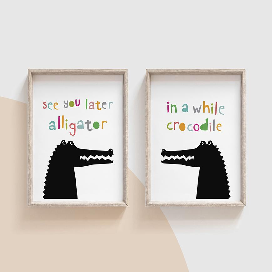 See You Later Alligator, In A While Crocodile, Print Set