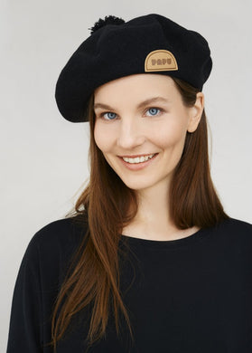 Papu Pom Pom Wool Beret Black Adults