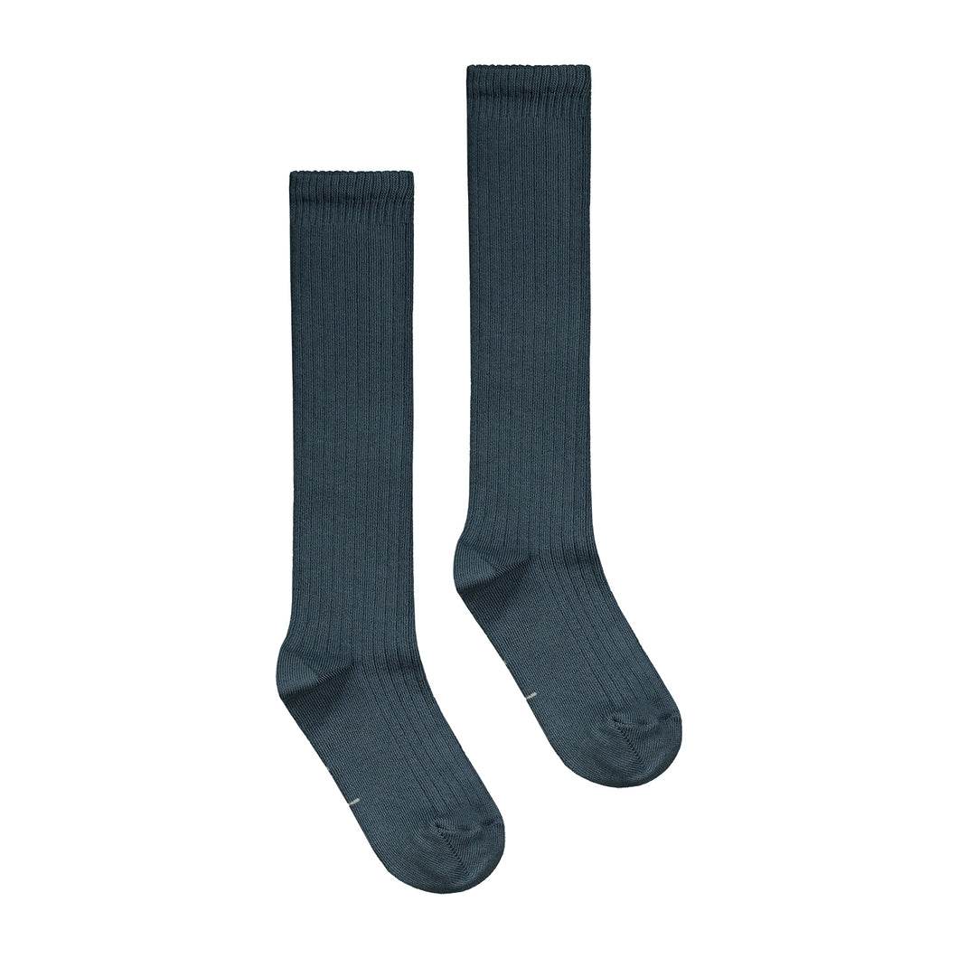Gray Label Long Ribbed Socks Blue Grey