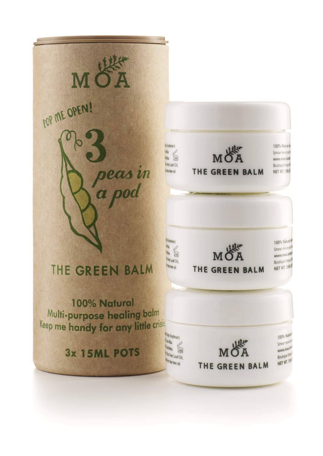 MOA the Green Balm 'Three Peas in a Pod' lahjasetti 3x15ml