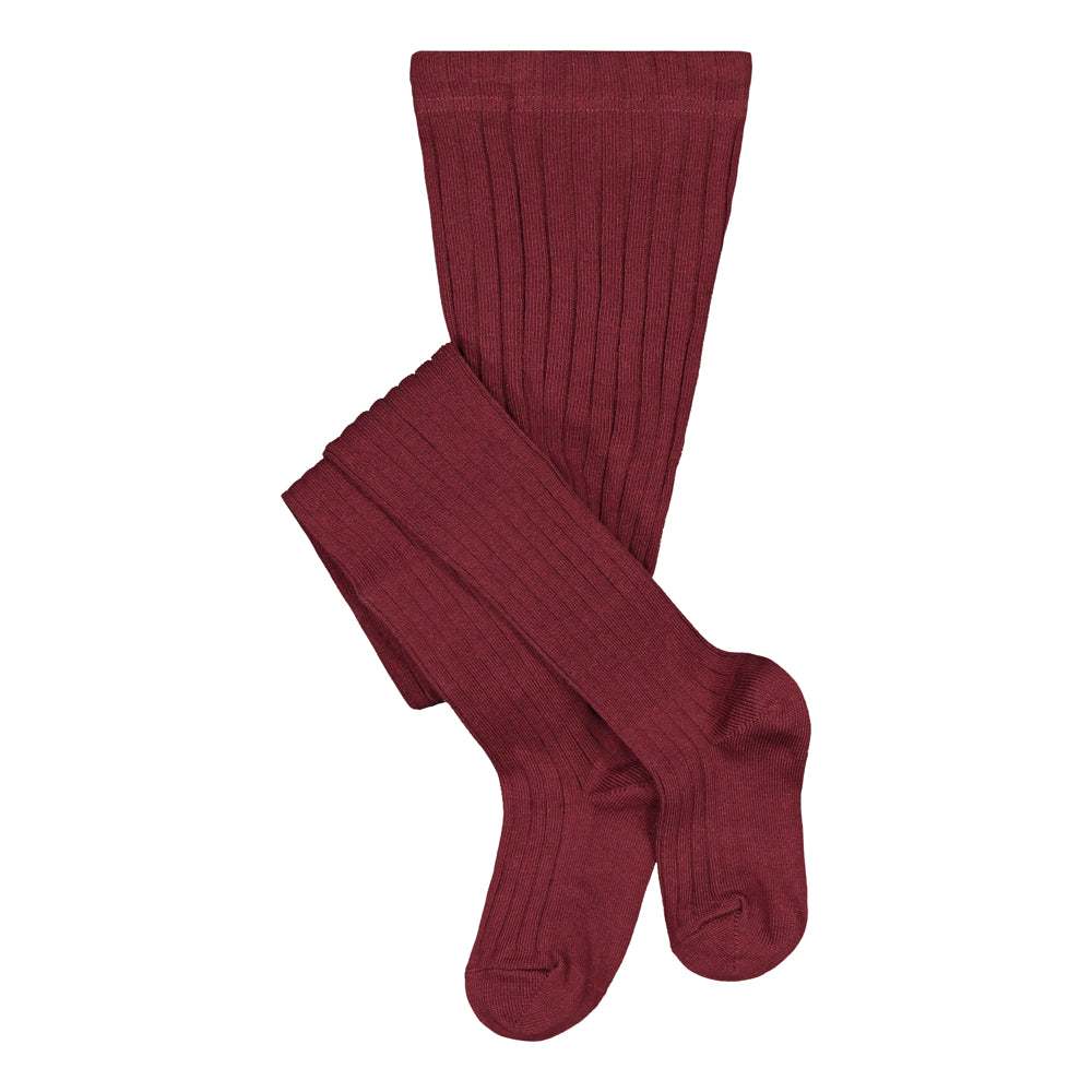 Metsola Ribbed Tights, Wine red