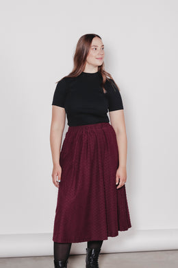 AARRE Ana Skirt, Burgundy Dot