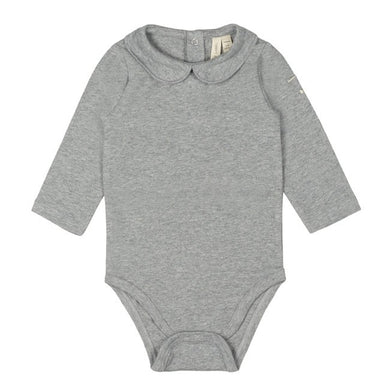 Gray Label Baby Onesie with Collar Grey Melange