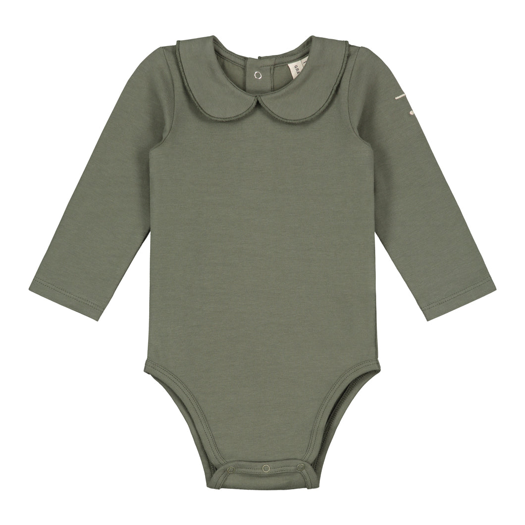 Gray Label Baby Onesie with Collar Moss