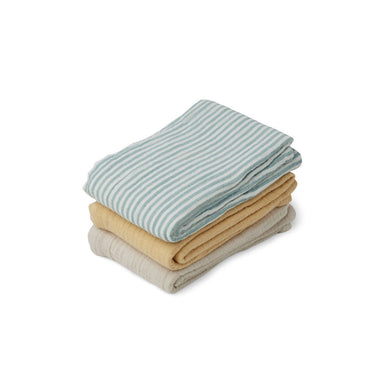 Liewood Muslin Cloth 3-pack Sea blue stripe mix