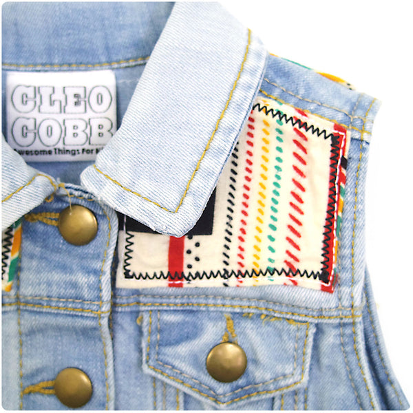 Baby/Toddler Denim Gillet with Aztec Print - 18-24 Months | Festival Baby |