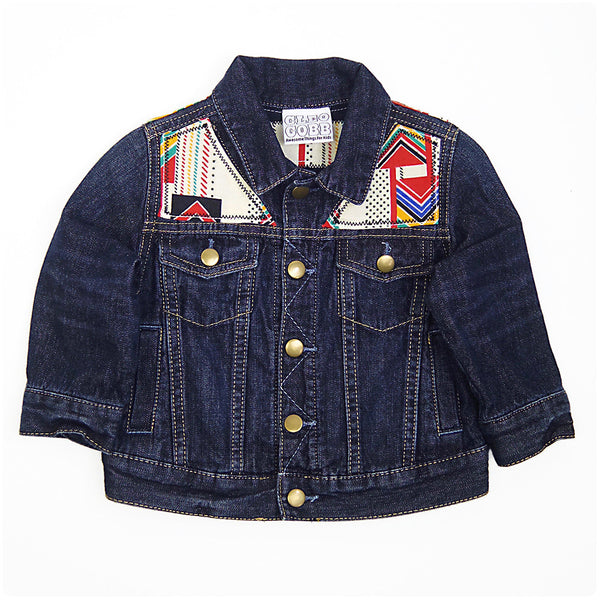Baby/Toddler Custom Denim Jacket 18-24 Months With Aztec Print - Festival Kids