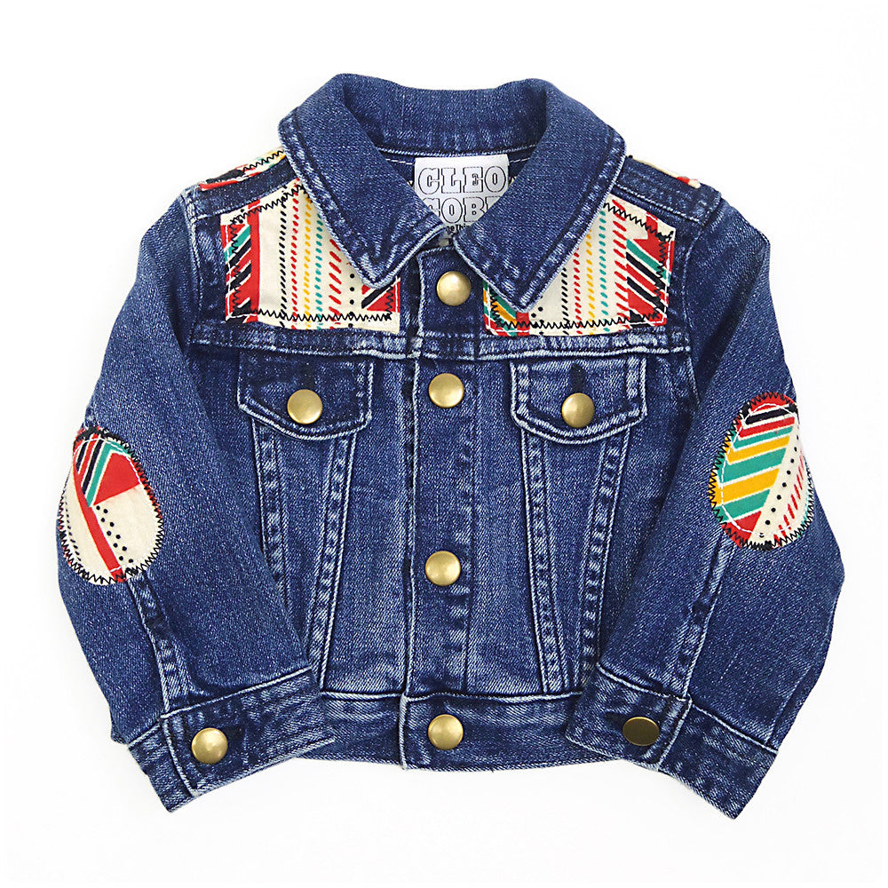 b46a88db489 Baby Toddler Custom Denim Jacket 3-6 Months With Aztec Print - Festival Kids