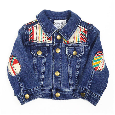 Baby/Toddler Custom Denim Jacket 3-6 Months With Aztec Print - Festival Kids