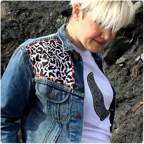 Grown Ups' Custom Denim Jacket - Small - Monochrome Animal Print