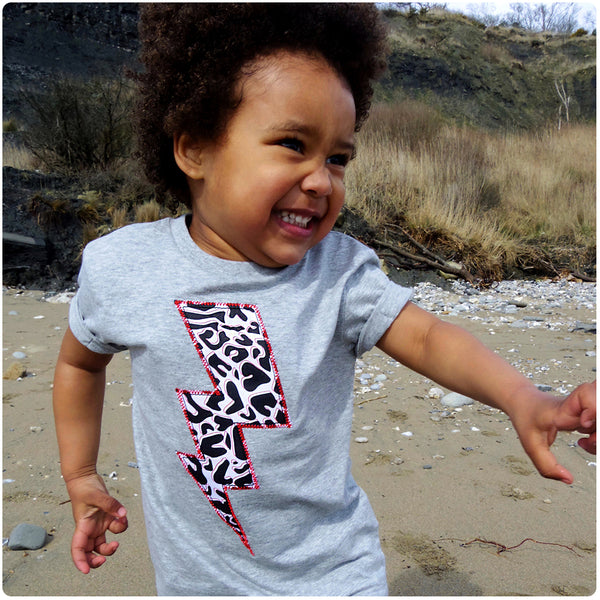 Childrens' Lightening Bolt Patch Tee Unisex Design - Monochrome Animal Print - Festival Kid