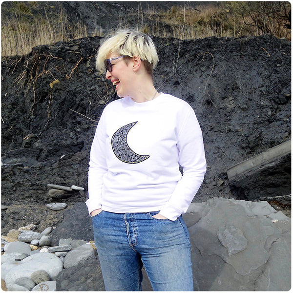 Grown Ups' Moon Patch White Sweatshirt Unisex Design - Monochrome Doodle Print