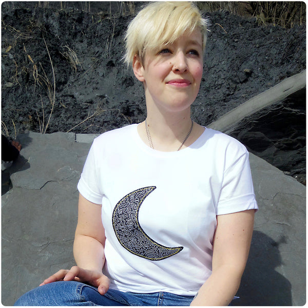 Grown Ups' Moon Patch Tee Unisex Design - Monochrome Doodle Print