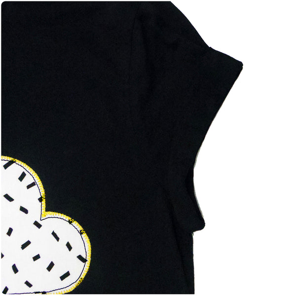 Grown Ups' Cloud Patch Black T-Shirt Unisex Design - Monochrome Dash Print