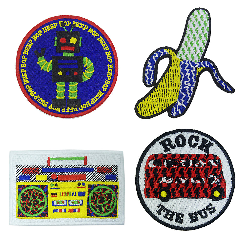 All Four Designs Banana/Ghetto Blaster/Bus/Robot Patch/Badge - Iron On Patch
