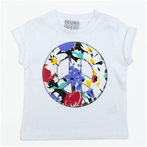 Baby and Toddler Peace Sign Patch T-Shirt 90s Inspired Unisex Design - Black Floral Print