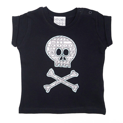 Baby and Toddler Skull and Crossbones Patch T-Shirt Pirate Inspired Unisex Design - Black Keyboard Print