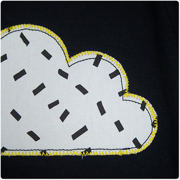New Baby and Toddler Cloud Patch Babygrow Unisex Design - Monchrome Dash Print - Festival Baby