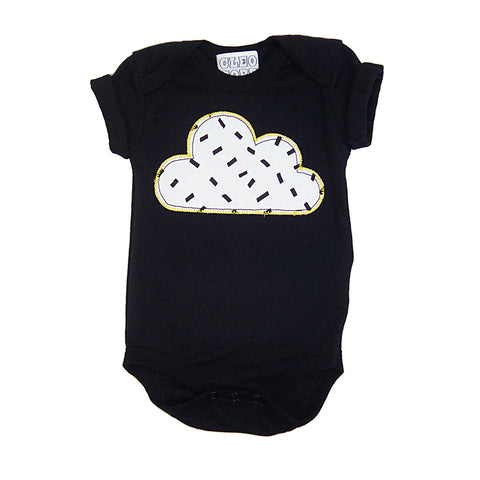 Baby and Toddler Cloud Patch Babygrow Unisex Design - Monchrome Dash Print - Festival Baby