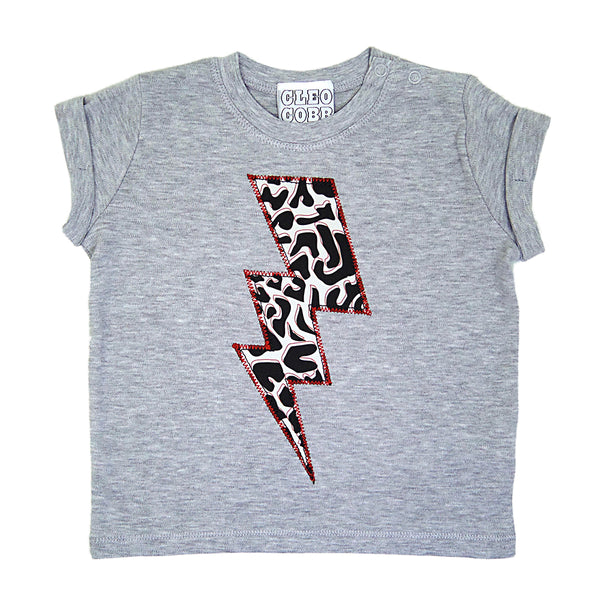 Baby and Toddler Lightening Bolt Patch Tee Unisex Design - Monochrome Animal Print