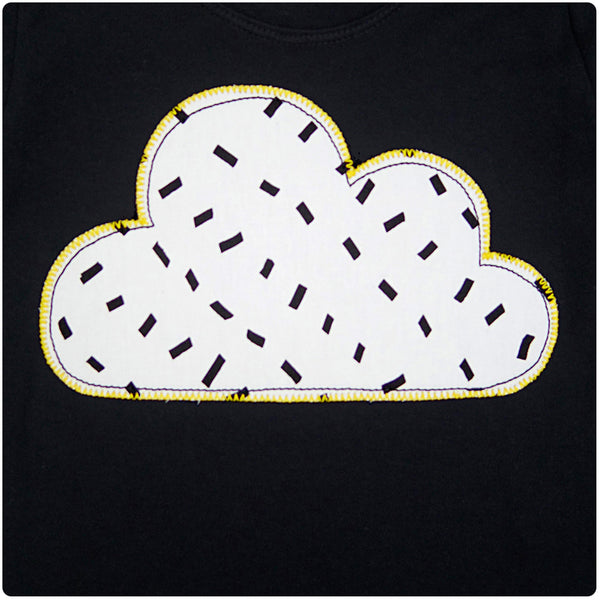 Baby and Toddler Cloud Patch Tee Unisex Design - Monochrome Dash Print