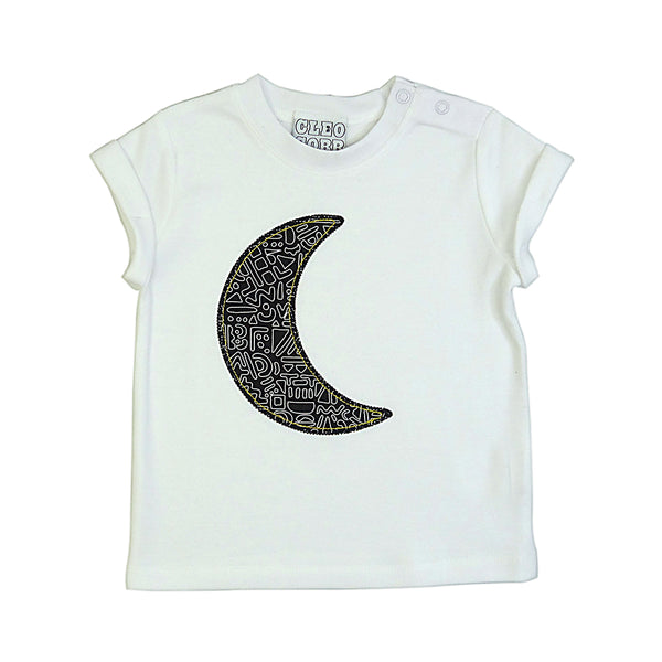 Baby and Toddler Moon Patch Tee Unisex Design - Monochrome Doodle Print