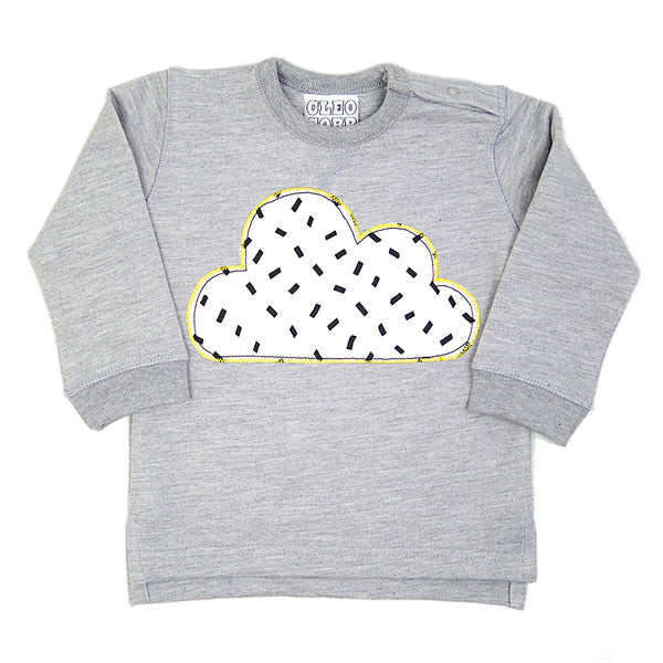 Baby and Toddler Cloud Patch Sweatshirt Unisex Design - Monochrome Dash Print