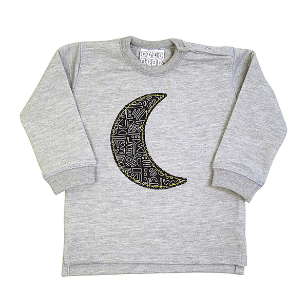 New Baby and Toddler Moon Patch Sweatshirt Unisex Design - Monochrome Doodle Print