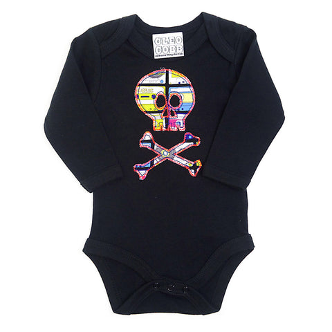 Baby and Toddler Skull and Crossbones Patch Long Sleeve Babygrow Pirate Inspired Unisex Design - Cassette Tape Print