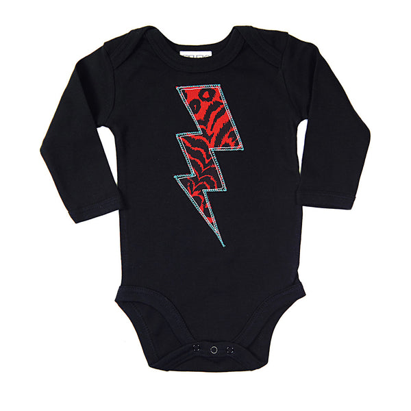 Baby/Toddler Lightening Bolt Patch Long Sleeve Babygrow Superhero Inspired Unisex Design - Red Leopard Print