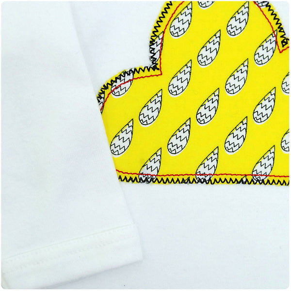Baby/Toddler Cloud Patch Long Sleeve Babygrow Unisex Design - Yellow Raindrop Print