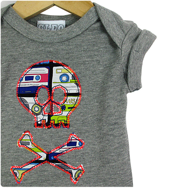 Baby and Toddler Skull and Crossbones Patch Babygrow Pirate Inspired Unisex Design - Cassette Tape Print